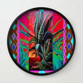COLORFUL DESERT AGAVE CACTUS PAINTING Wall Clock