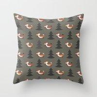 foxes Throw Pillows featuring Foxes by Maria Jose Da Luz