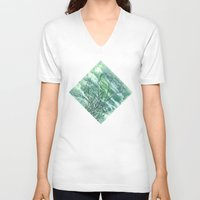 grass V-neck T-shirts featuring GRASS by AMULET