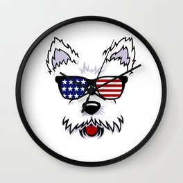 Westie Dog Face with American Flag Sunglasses Wall Clock