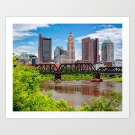 Cap City Skyline From The North Bank - Columbus Ohio Art Print