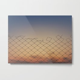 wire mesh against sunset Metal Print