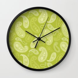 greenery paisley Wall Clock
