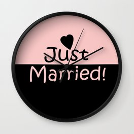 Just married! Pink Wall Clock