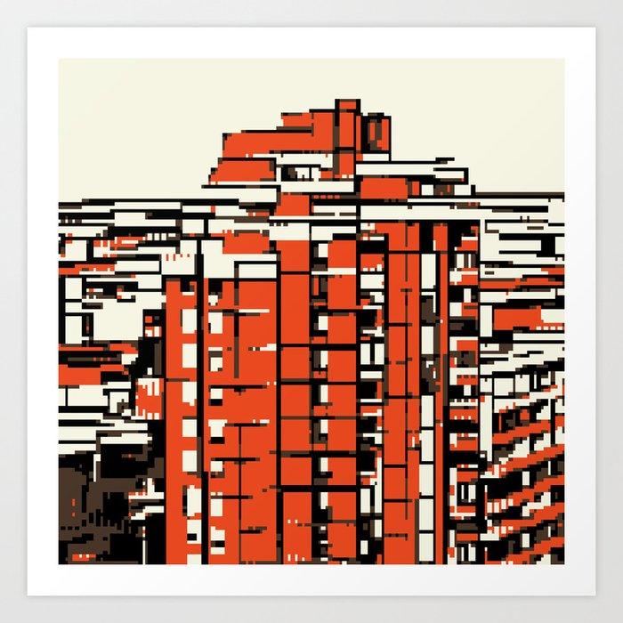 Pixelated Buildings in Belgrade Art Print