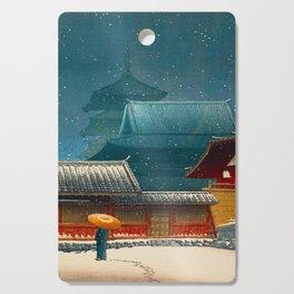 Vintage Japanese Woodblock Print Japanese Red Shinto Shrine Pagoda Winter Snow Cutting Board