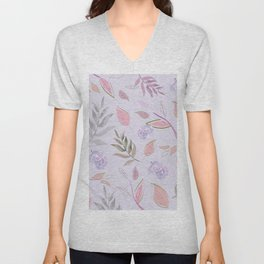 Simple and stylized flowers 11 Unisex V-Neck