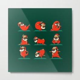 Santa Pug Yoga Metal Print