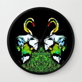 Swans Couple White Black Wall Clock