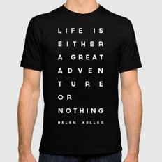 Adventure or Nothing MEDIUM Black Mens Fitted Tee