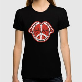 Kissing Lips With Peace Symbol T-shirt