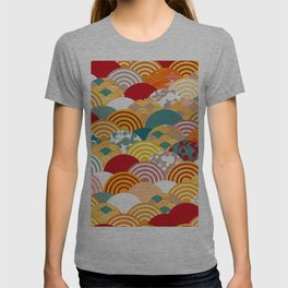 Nature background with japanese sakura flower, orange red pink Cherry, wave circle pattern T-shirt