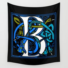 Celtic Peacocks Letter B Wall Tapestry