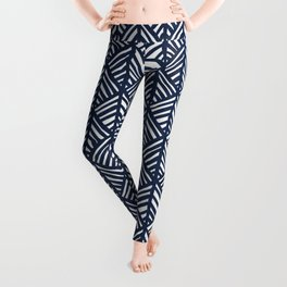 Abstract Leaf Pattern in Blue Leggings