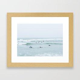 Tiny Surfers Lima, Peru Framed Art Print