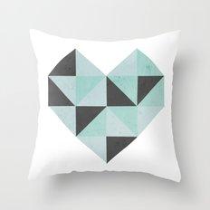 Geometric Heart (Blue) Throw Pillow
