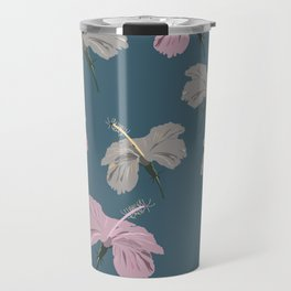 Seamless pattern of shades of pink and grey color hibiscus flowers on robin egg blue color background  Travel Mug