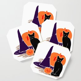 Witch Cat Pumpkin Woodcut Halloween Design Coaster