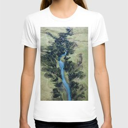Aerial View of Fjaðrárgljúfur Canyon in Iceland – Landscape Photography T-shirt