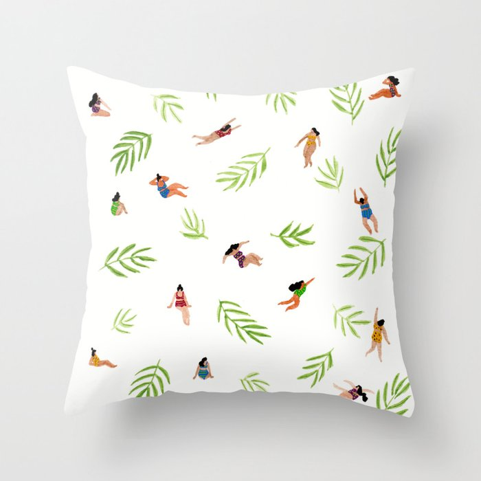 Swimming with the Palms Throw Pillow