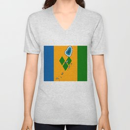 St Vincent and the Grenadines Flag with Island Maps Unisex V-Neck