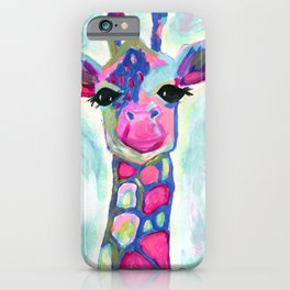 Giraffe Painting, Colorful Blue Giraffe, Magenta Green Blue Giraffe iPhone Case