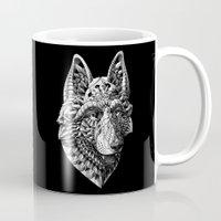 german shepherd Mugs featuring German Shepherd by BIOWORKZ
