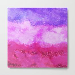 Modern violet lilac neon pink ombre watercolor Metal Print