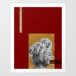Red and gold no lips Art Print