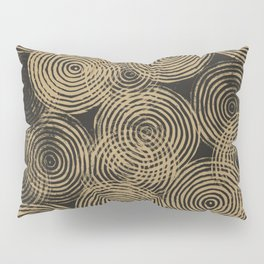 Radial Block Print in Charcoal and Gold Pillow Sham