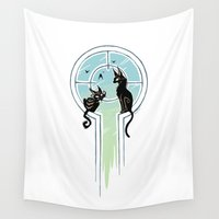 window Wall Tapestries featuring Window Cats by Freeminds
