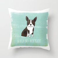 boston terrier Throw Pillows featuring Boston Terrier by 52 Dogs