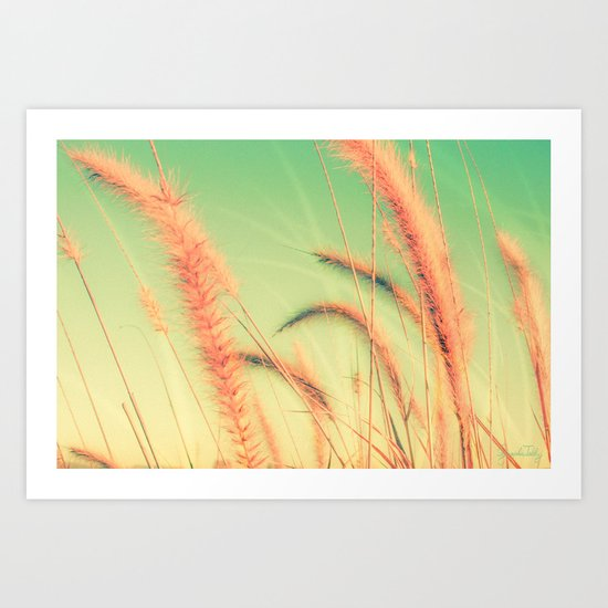 Swing into Spring (Reed Plants with Mint Green Sky Background) Art Print