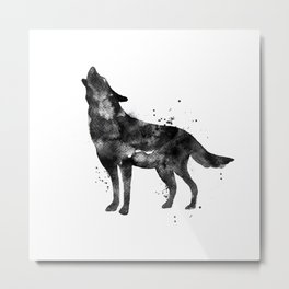 Watercolor Wolf - Black Metal Print