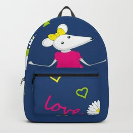 pair of white enamored mouses Backpack