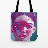 fka twigs Tote Bags featuring FKA Twigs Low Poly Collection by Giselle LowPoly