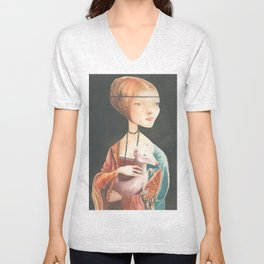 Lady with an Ermine Unisex V-Neck