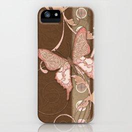Butterfly Scroll Damask Lace Swirl Polka Dot Modern Pattern Watercolor Art iPhone Case