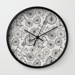 Monochrome Vintage Bicycles of Soft Grey Wall Clock