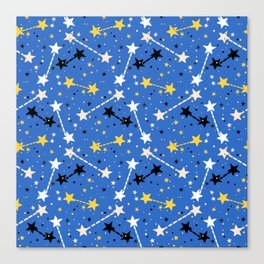 Fun ditsy print with night sky and constellations Canvas Print
