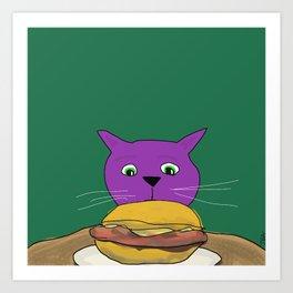 Purple Cat likes Burgers Art Print