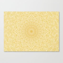 Most Detailed Mandala! Yellow Golden Color Intricate Detail Ethnic Mandalas Zentangle Maze Pattern Canvas Print
