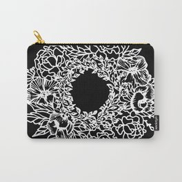 White Linocut Flowery Wreath On Black Carry-All Pouch