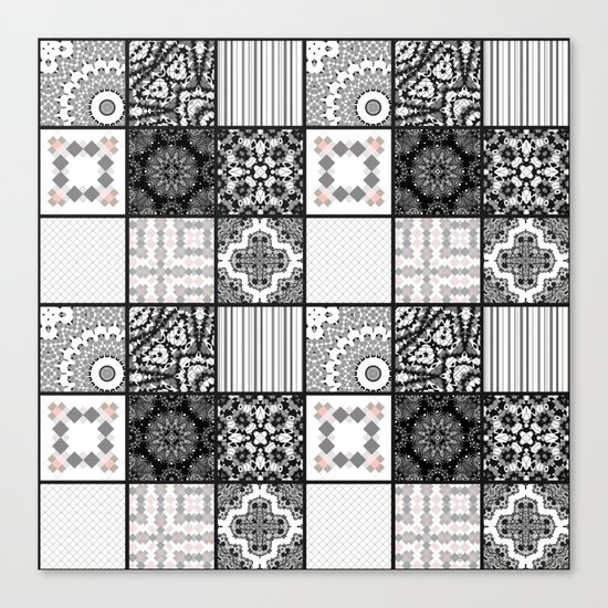 Patchwork . Squares of black, gray Patterns . Canvas Print