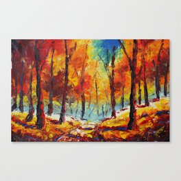 "Autumn landscape oil painting ""Bright autumn landscape"" Palette knife oil paintings for sale. Canvas Print"