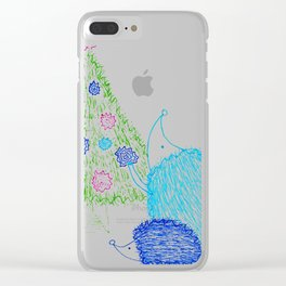 Hedgehog Holiday Clear iPhone Case
