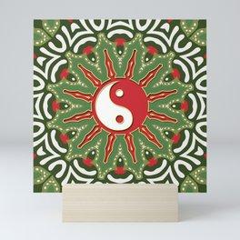 Red Yin Yang Sun Festive Mandala Mini Art Print