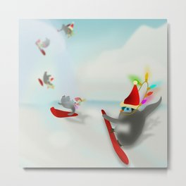 Snow Surfin' Baby Penquines Metal Print