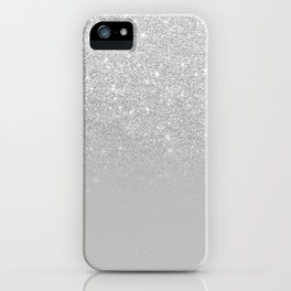 Trendy modern silver ombre grey color block iPhone Case
