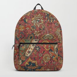 Persian Medallion Rug IV // 16th Century Distressed Red Green Blue Flowery Colorful Ornate Pattern Backpack
